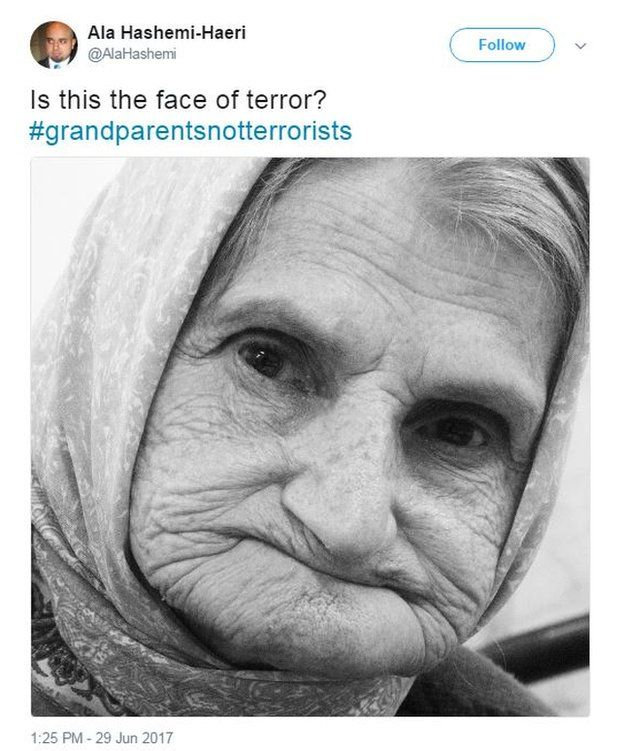"""Ala Hashemi-Haeri tweets a photo of his grandmother with the caption: """"Is this the face of terror? #grandparentsnotterrorists""""."""