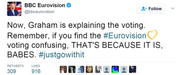 Tweet from @bbceurovision: Now, Graham is explaining the voting. Remember, if you find the #Eurovision voting confusing, THAT'S BECAUSE IT IS, BABES. #justgowithit