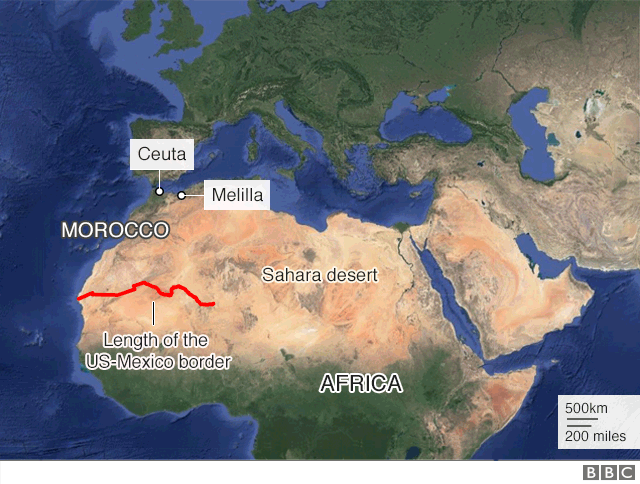 Spain And Africa Map.Trump Urged Spain To Build A Wall Across Sahara Says Minister