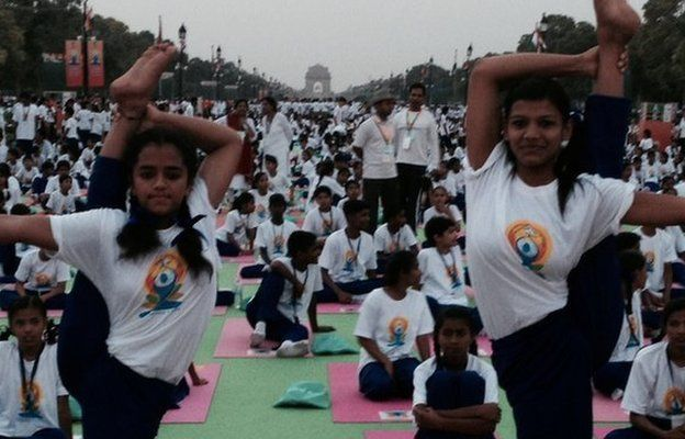 Yoga Day participants prepare for the event on Rajpath, Delhi 21 June 2015