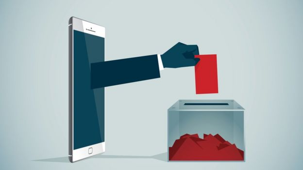 Illustration shows an arm leaving a mobile phone and depositing a vote in a poll