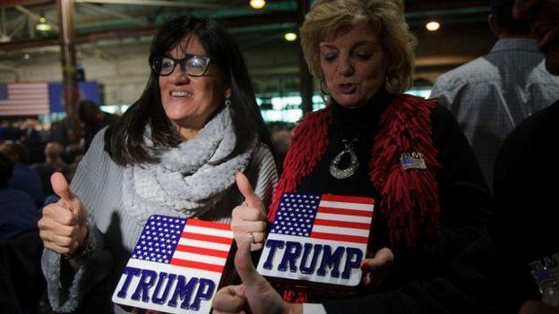 Mujeres de Pensilvania muestran su apoyo a Trump.