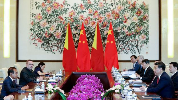East Timor President Taur Matan Ruak (L) meets with Chinese President Xi Jinping (R) at Diaoyutai State Guesthouse on September 2, 2015 in Beijing, China