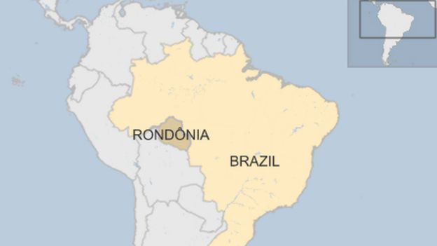 Map of Brazil showing Rondonia