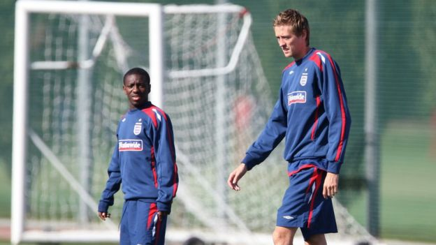 Footballers Peter Crouch and Shaun Wright-Phillips training for England.