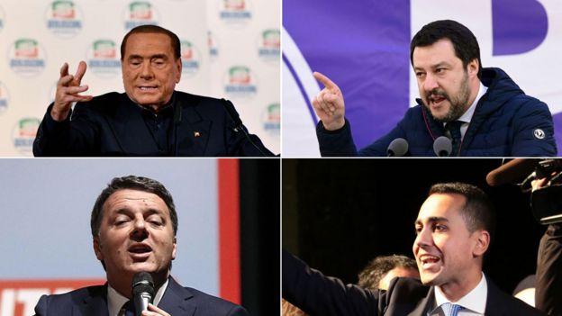 Silvio Berlusconi, Matteo Salvini, Matteo Renzi, Luigi Di Maio