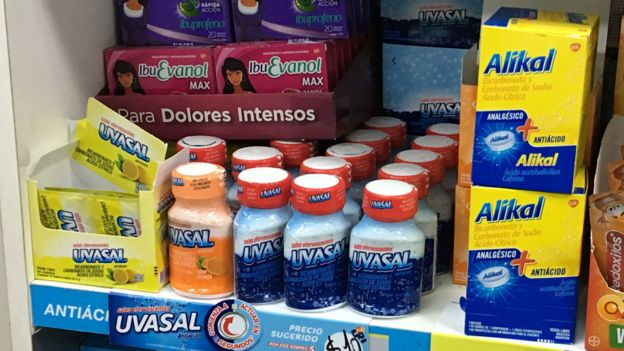 Medicines for indigestion at a pharmacy in Argentina