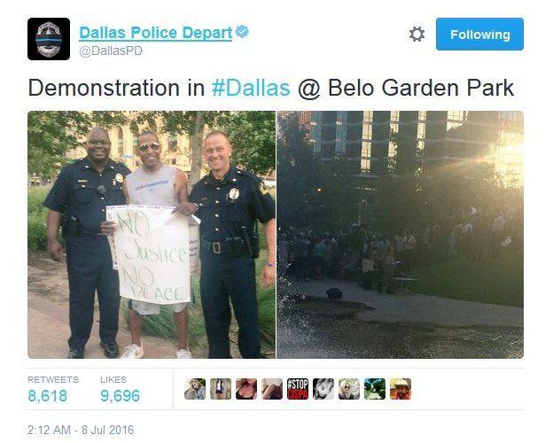 Dallas Police Department tweets: Demonstration in #Dallas @ Belo Garden Park