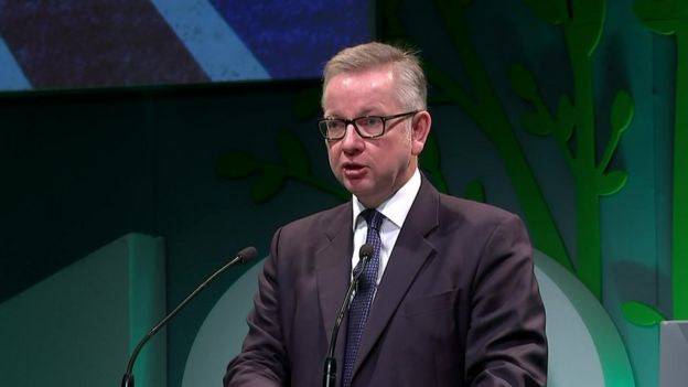 Michael Gove giving his speech