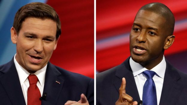 Ron DeSantis (izquierda) y Andrew Gillum, candidatos a gobernador de Florida
