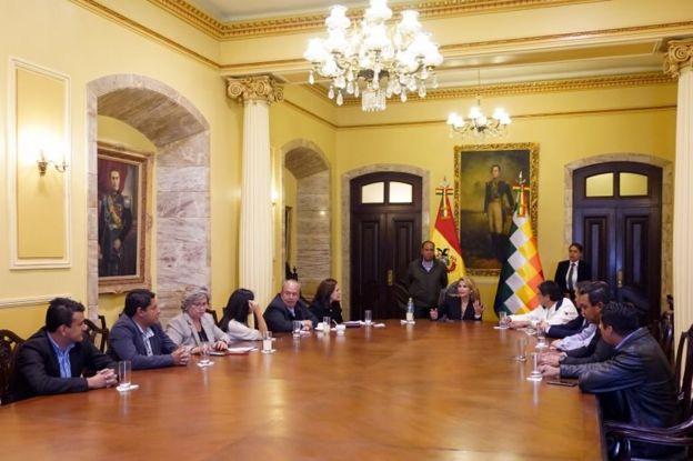 reunión del gobierno en Palacio Quemado