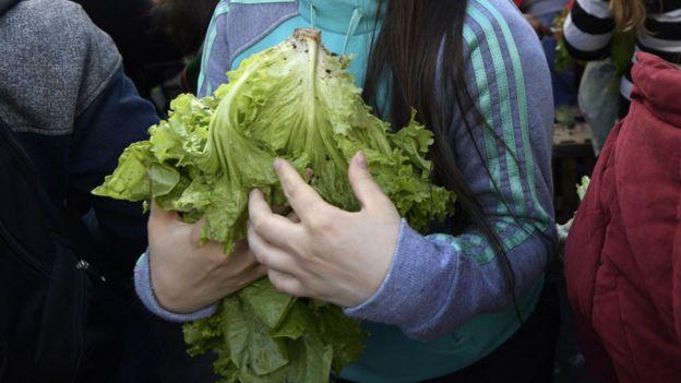 Mujer sosteniendo una lechuga en Argentina