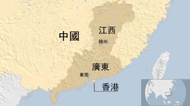 中国江西与广东省相关简明地图
