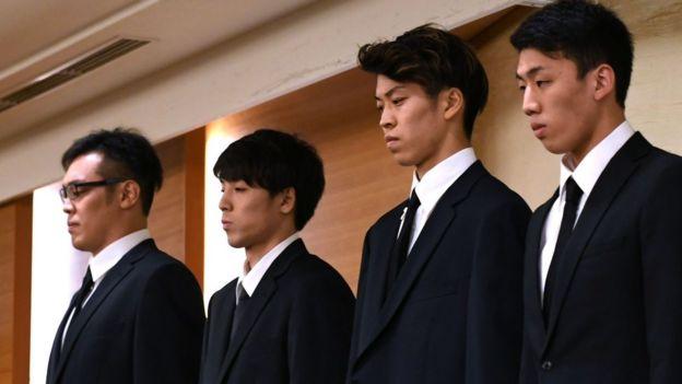 Japanese basketball players Yuya Nagayoshi, Takuya Hashimoto, Takuma Sato, and Keita Imamura attend a press conference in Tokyo on August 20, 2018