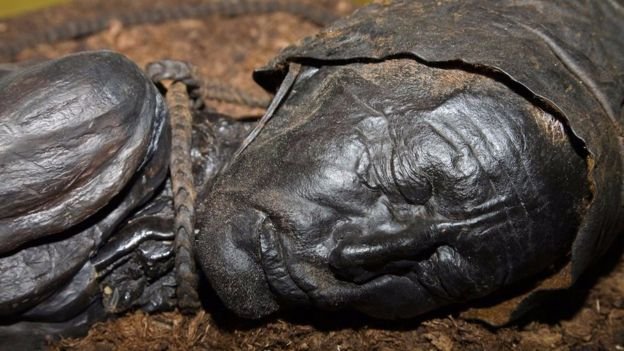 Approximately 2,400 years old, Tollund Man is part of an exhibit in Silkeborg