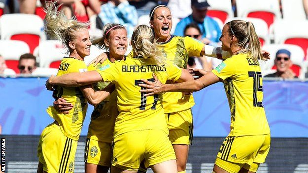 Sweden players celebrate scoring against England