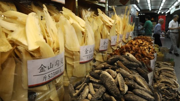 Shark fins displayed for sale in Hong Kong's Shueng Wan district