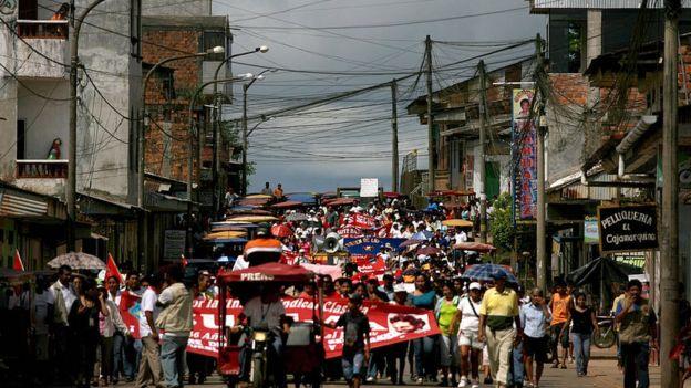 Manifestación en la selva de Perú.