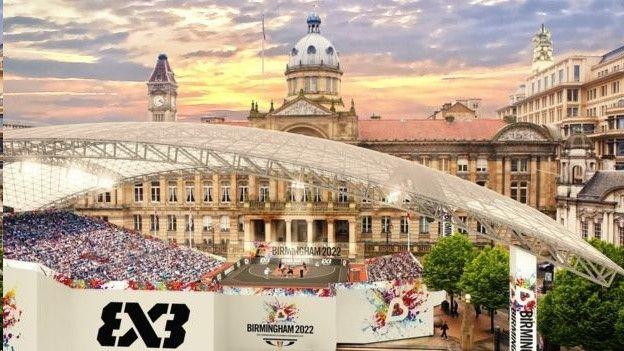 Artist's impression of Victoria Square, Birmingham, during the 2022 Commonwealth Games