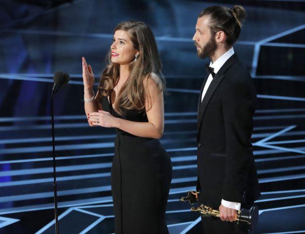 Rachel Shenton and Chris Overton at the Oscars