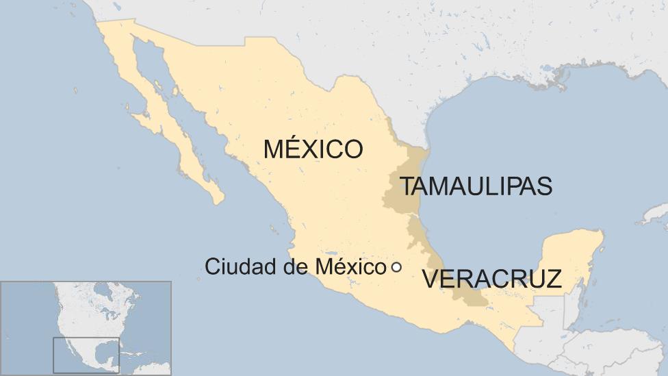 Un mapa de México con Tamaulipas y Veracruz resaltados