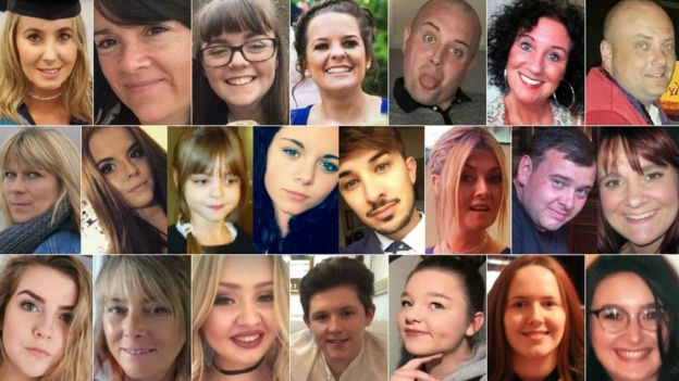 Top (left to right): Lisa Lees, Alison Howe, Georgina Callender, Kelly Brewster, John Atkinson, Jane Tweddle, Marcin Klis - Middle (left to right): Angelika Klis, Courtney Boyle, Saffie Roussos, Olivia Campbell-Hardy, Martyn Hett, Michelle Kiss, Philip Tron, Elaine McIver - Bottom (left to right): Eilidh MacLeod, Wendy Fawell, Chloe Rutherford, Liam Allen-Curry, Sorrell Leczkowski, Megan Hurley, Nell Jones