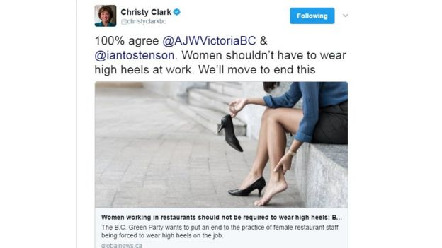 BC Premier Christy Clark tweeted her support for the end of high heel requirements