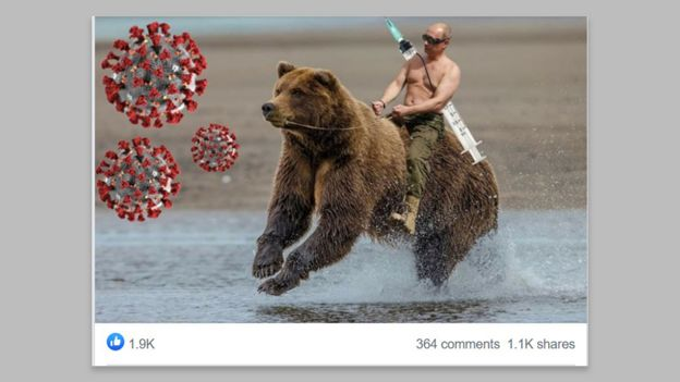 An image of Vladimir Putin superimposed onto a bear with a large syringe slung on his back