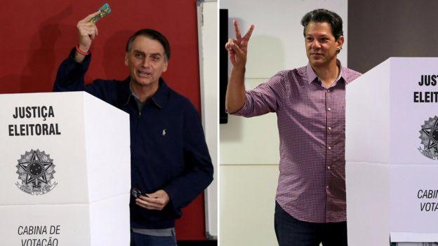 Colagem mostra Bolsonaro e Haddad votando no primeiro turno