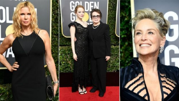 German actress Veronica Ferres walked the carpet in black, with La La Land star Emma Stone, former tennis champion Billie Jean King and Hollywood royalty Sharon Stone.