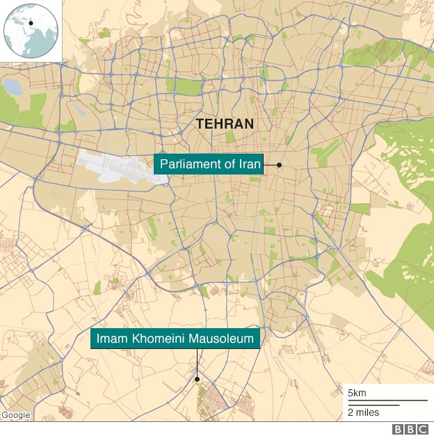 Map of Tehran showing parliament and shrine