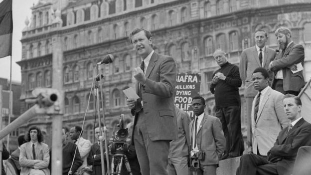 British Labour Party politician Michael Barnes speaking at a rally organised by the 'Biafra Committee', London, UK, 7th July 1968.