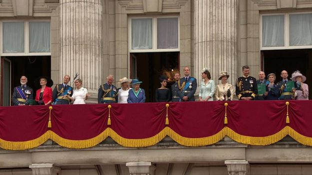Royal Family watching flypast