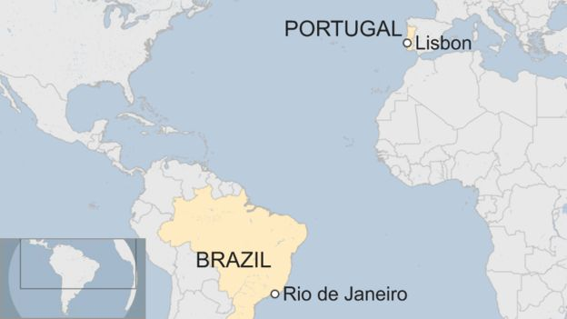 A map showing where Rio de Janeiro and Lisbon are