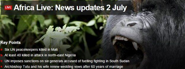 Screen grab of BBC Africa Live page