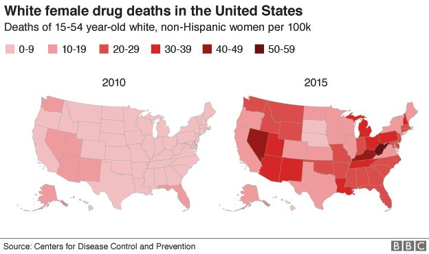 Two maps of the US showing the rise in female deaths from drugs between 2010 and 2015