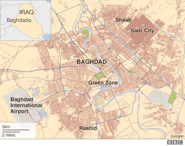 map of baghdad showing locations of sadr city shaab and rashid