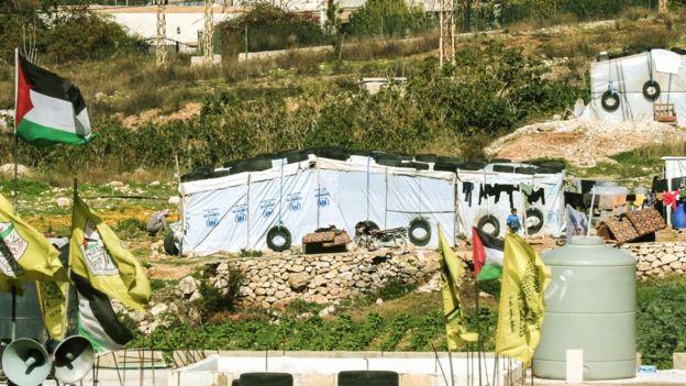 Tendas de refugiados palestinos no Líbano