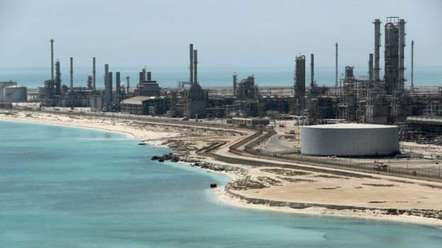 Saudi Aramco's Ras Tanura oil refinery and oil terminal in Saudi Arabia