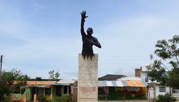 A photo of the statue of Benkos Biohó in San Basilio de Palenque