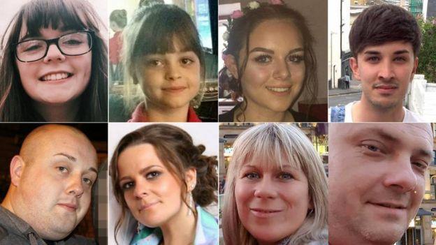 Clockwise, from top left: Georgina Callander, Saffie Roussos, Olivia Campbell, Martyn Hett, Marcin Klis, Angelika Klis, Kelly Brewster and John Atkinson