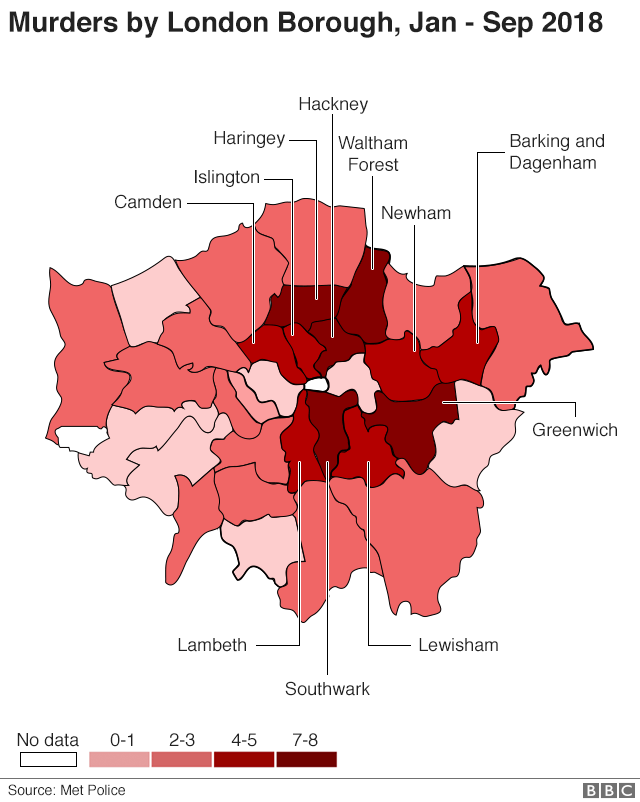 Murders by London borough, Jan to Sep 2018