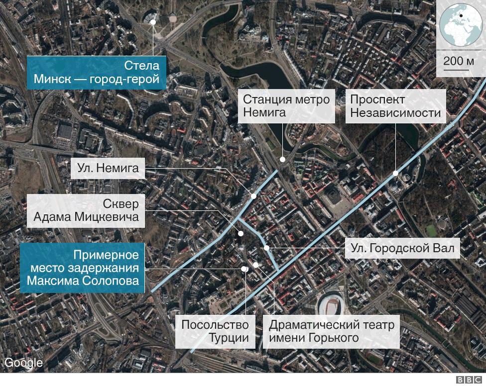 Задержание Солопова - карта