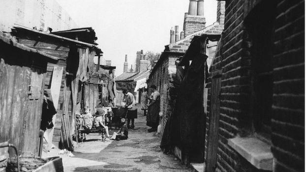 Poblado chabolista en Londres, 1934.
