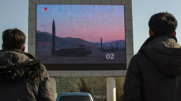 Footage of a North Korean missile test was broadcast on a big screen in Pyongyang in March