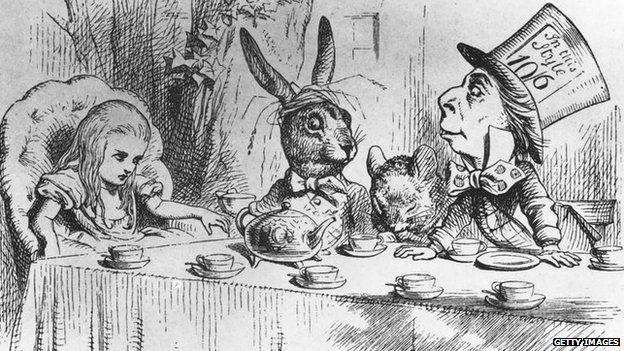 Mad Hatter tea party scene