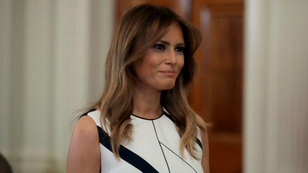 First Lady Melania Trump looks on before President Trump introduces Judge Kavanaugh