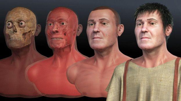 Fases da reconstituição facial de São Valentim