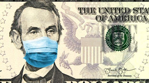 Ilustração de moeda de dólar com máscara de coronavírus