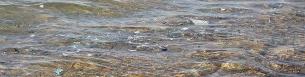 Plastic in the sea off Paros
